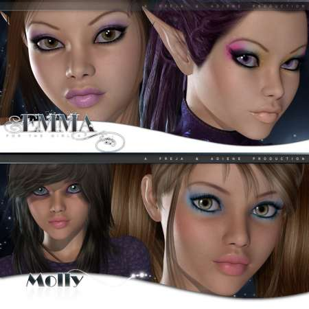 [Poser/DAZ] (Characters V4.2, G4) Frad Character Pack - Molly and Emma